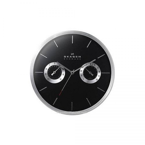 ... Wall Clock - Silver Trim & Black Dial - Hygrometer & Thermometer