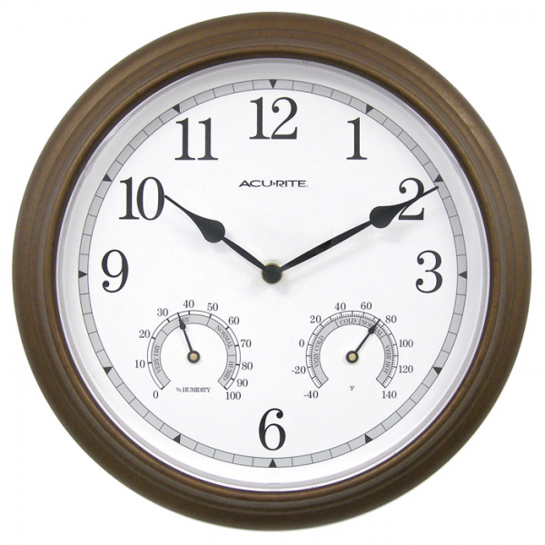 ... 01030 13 Bronze Wall Clock with Thermometer and Hygrometer | Klockit