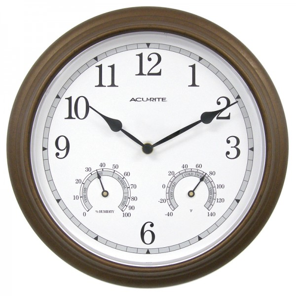 AcuRite 13 Bronze Wall Clock with Thermometer & Hygrometer 01030