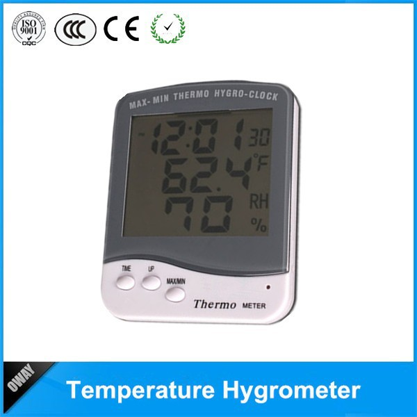 Mini indoor durable digital thermo hygrometer and clock