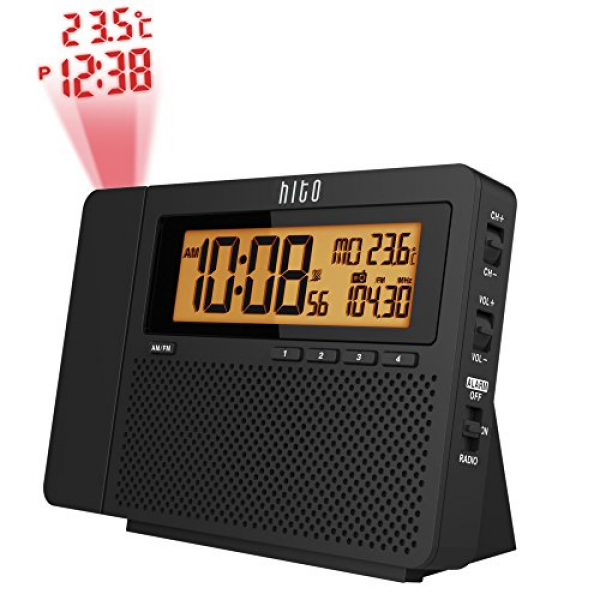 HITO Atomic AM/FM Projection Clock Radio w/ Date, Week and Temperature ...
