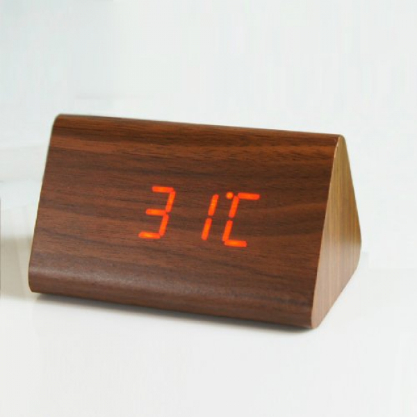 Hito™ wood grain led alarm clock - time temperature date - display ...