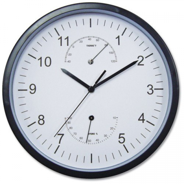 Wall Clock with Temperature and Hygrometry Dials Diameter 300mm Black ...