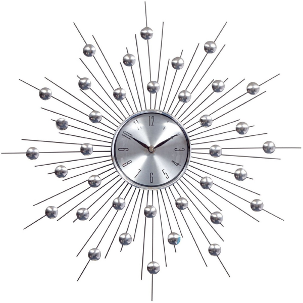 LexMod Silver Starburst Weather Wall Clock