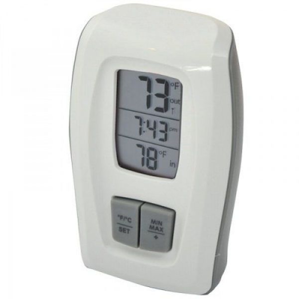 Acu-Rite Digital Indoor/Outdoor Thermometer with Clock - White