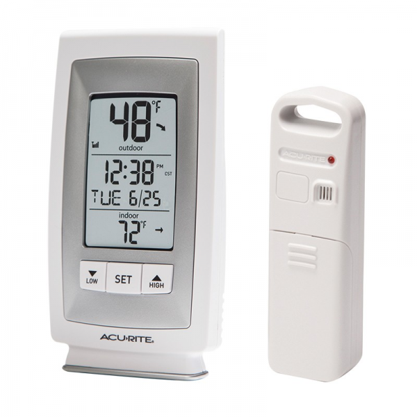 AcuRite Digital Indoor / Outdoor Thermometer with Intelli-Time Clock ...
