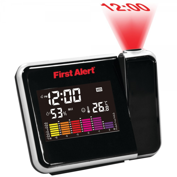 ... Alert Weather Station Red LED Projection Alarm Snooze Clock with