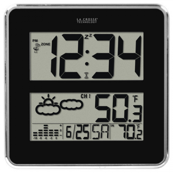 La Crosse Technology Atomic Digital Wall Clock with Forecast and ...