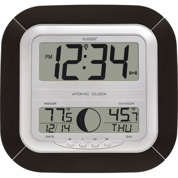 La Crosse Technology Atomic Wall Clock with Outside Temperature ...