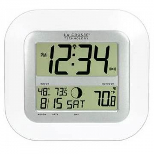 KWS-8140-WH Atomic Digital Wall Clock with Temp & Moon Phase