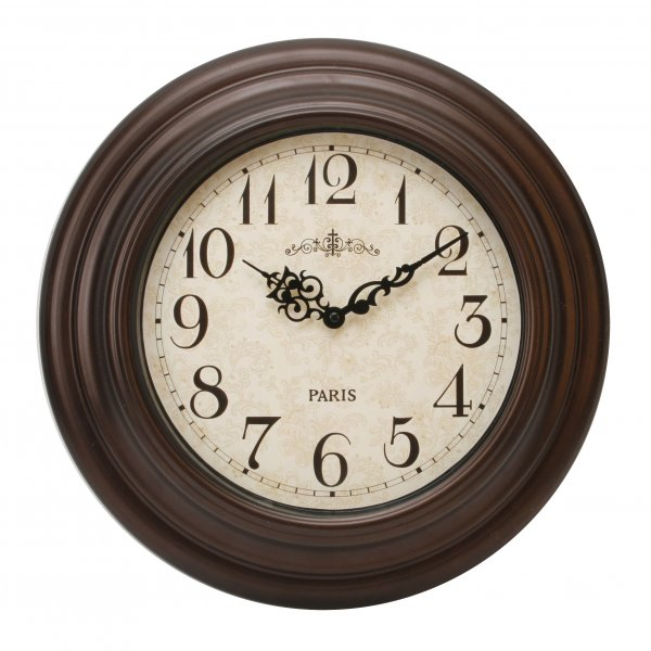 HOMETIME BROWN OUTDOOR WATER RESISTANT WALL CLOCK IN TRADITIONAL ...