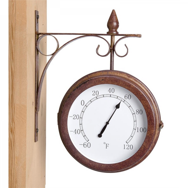 Double Sided Outdoor Clock Thermometer