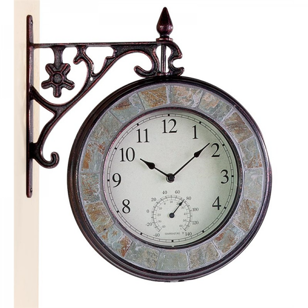 ... > Shop by Look > Vintage > Double-Sided Cast Iron Clock Thermometer