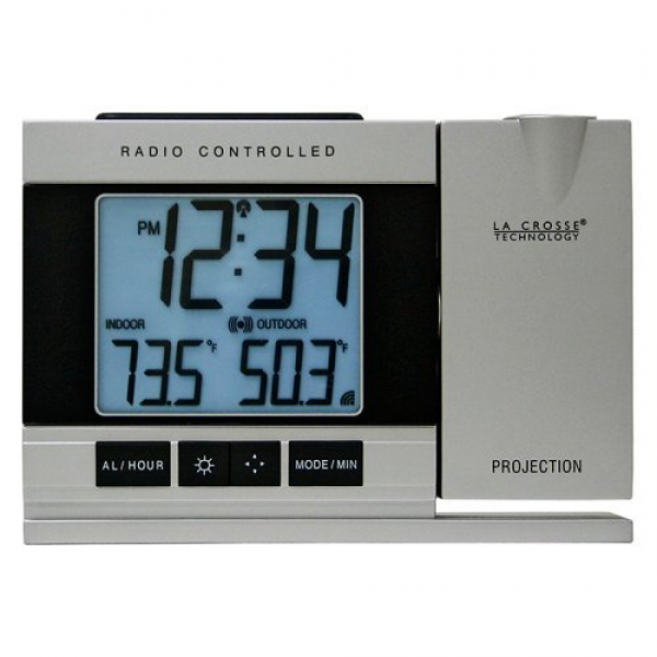 La Crosse Technology Radio Controlled or Manual Projection Alarm Clock ...