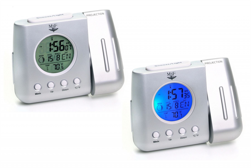 Details about RADIO CONTROLLED PROJECTION LCD ALARM CLOCK