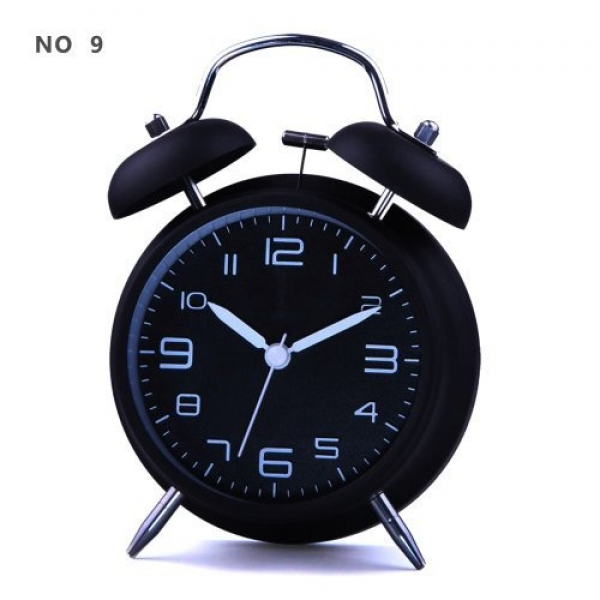 Silent Quartz Analog Twin Bell Alarm Clock with Nightlight and Loud ...