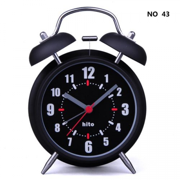 Silent Quartz Analog Twin Bell Alarm Clock w/ Nightlight and Loud ...