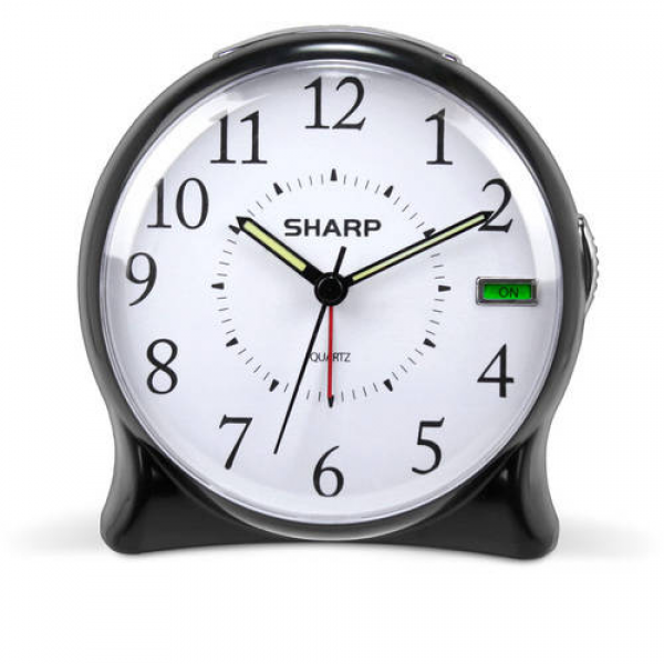 Sharp Quartz Analog Alarm Clock, Black - Walmart.com