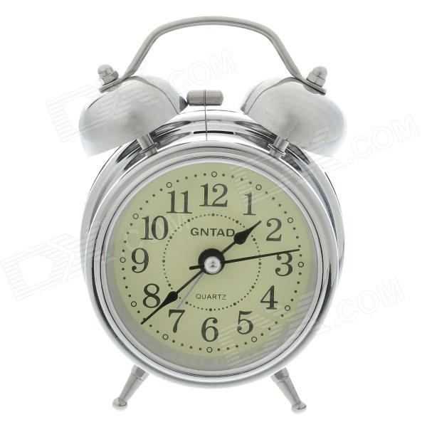 Classical Sharp Quartz Analog Twin Bell Alarm Clock Light Silver 1AA ...