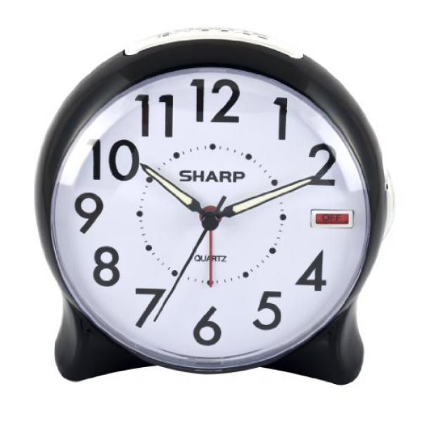 Sharp Spc127a Quartz Analog Alarm Clock (black/white), Black/white