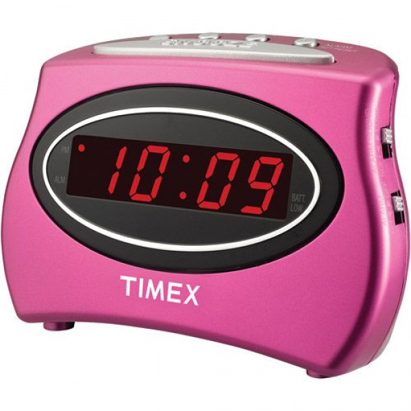 Timex Extra Loud LED Alarm Clock, Pink - $9.99