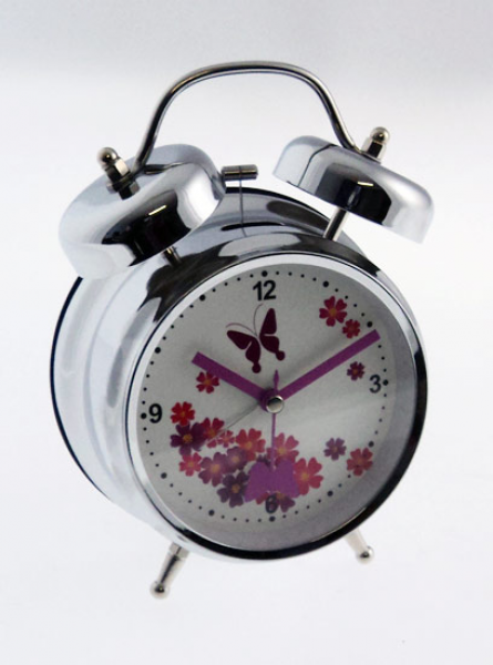 ... Twin / Double Bell Loud Silver & Purple Butterfly Alarm Clock | eBay