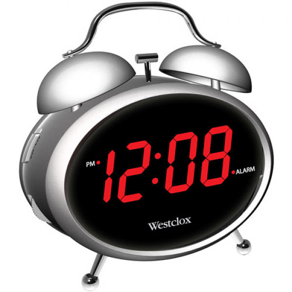 Westclox 0.9 LED Twin Bell Alarm Clock, Silver: Decor : Walmart.com