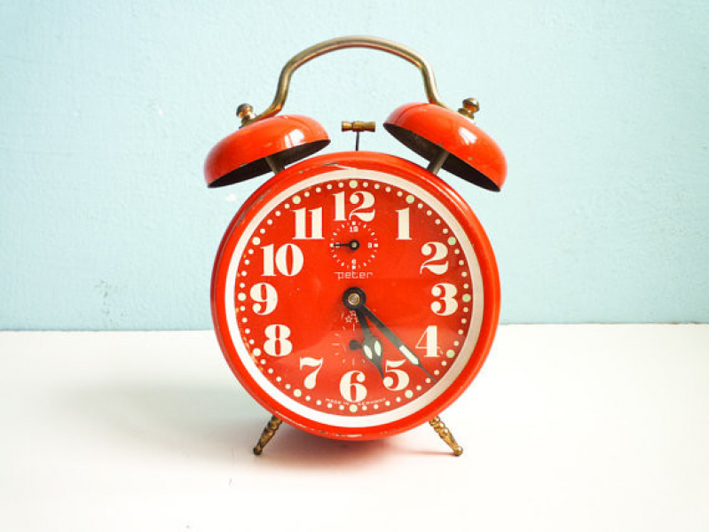 Red Orange Alarm Clock, Twin Bells by Euro Vintage - Eclectic - Alarm ...