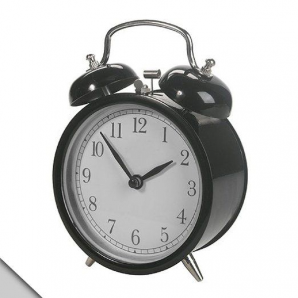 ... ALARM CLOCK ~ Twin Bell / Double Bell ~ in BLACK w/ 4 FACE: Home