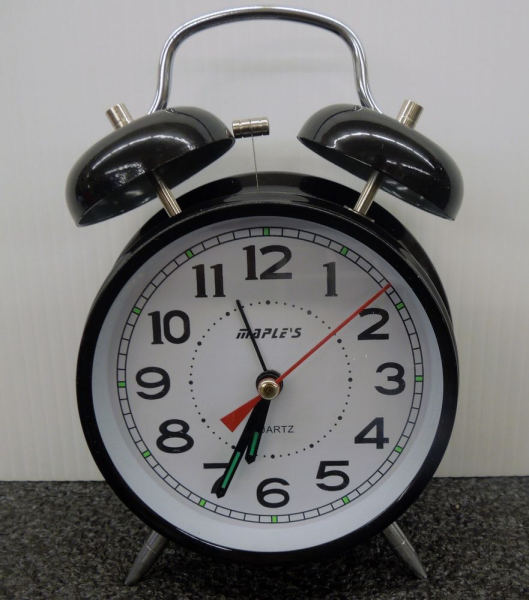 MAPLES TWIN BELL ALARM CLOCK- BLACK | eBay