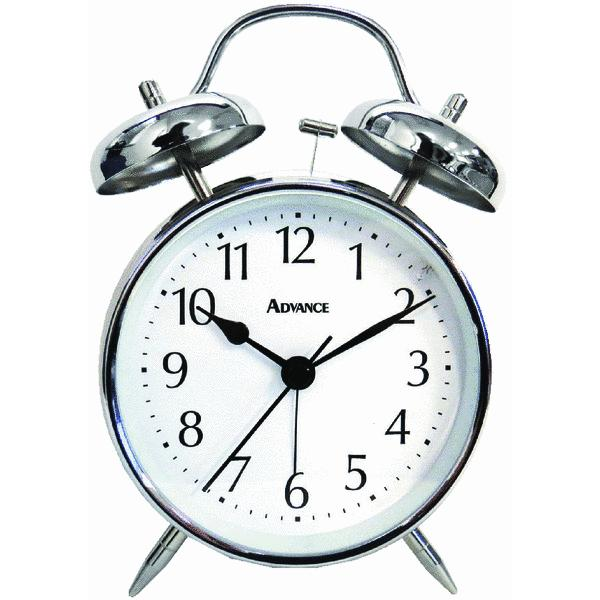 Clock Company 2080AT Quartz Analog Twin Bell Alarm Clock Size 1 White ...