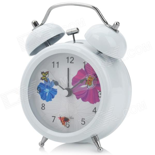 Butterfly Pattern 3 Face Silent Twin Bell Alarm Clock - White + Black ...