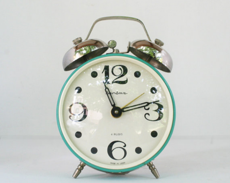 Antique bells alarm clock. Industrial Deco USSR 4 by labelfrance