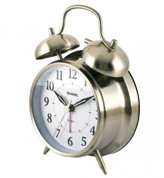 ... Quartz Analog Twin Bell Alarm Clock (Silver) : Electronic Alarm Clocks