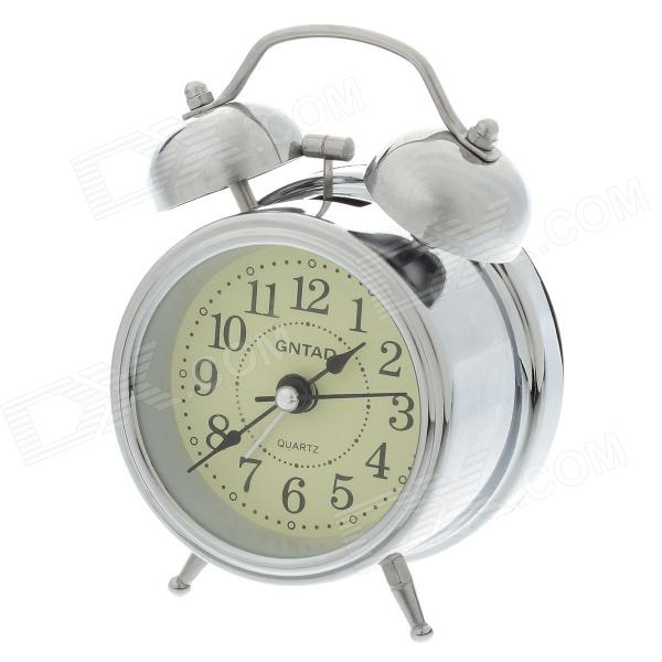 Classical Sharp Quartz Analog Twin Bell Alarm Clock w / Light - Silver ...