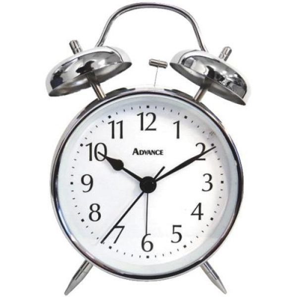Quartz Analog Twin Bell Battery Operated Alarm Clock-QA METAL TWIN ...