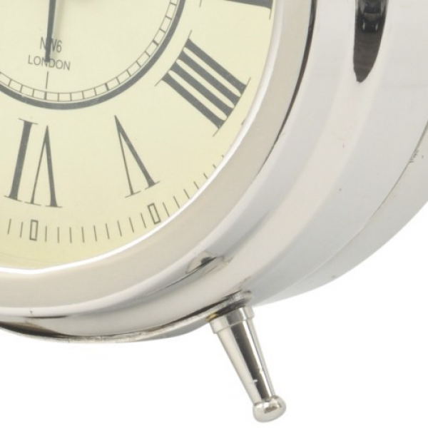 Scott Alarm Clock in a nickel Finish with Roman Numerals
