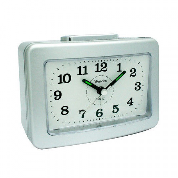 Westclox Quartz Loud Bell Battery Operated Silver Alarm Clock 47552 ...