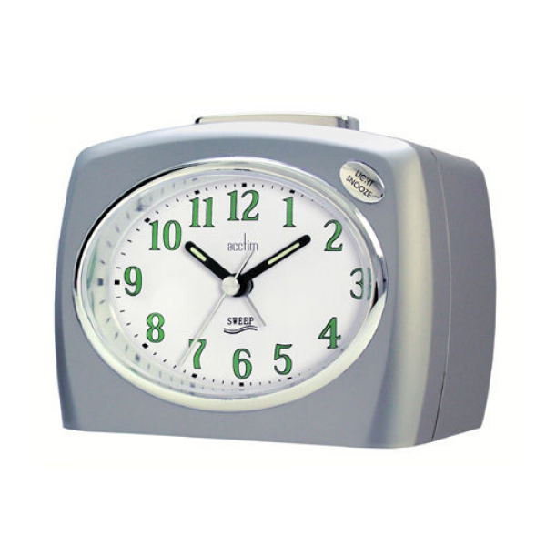 ... Non Ticking Loud Bell Alarm Clock Silver 14227 Snooze Quartz | eBay