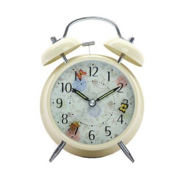 ... Vintage Twin Bell Clock Heavy Sleeper Loud Alarm Butterfly | eBay
