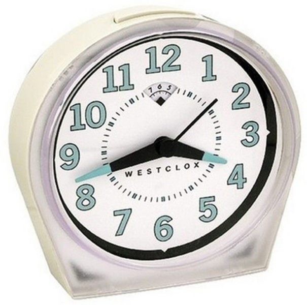 ... ~KEY WIND~WIND-UP ALARM CLOCK~LOUD BELL~LARGE NUMBERS~CREAM COLOR