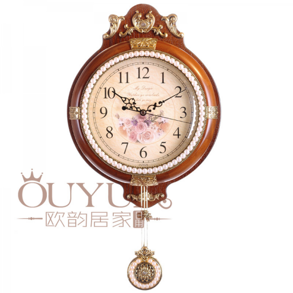 2015 High Quality Mechanical Antique Wooden Pendulum Wall Clock