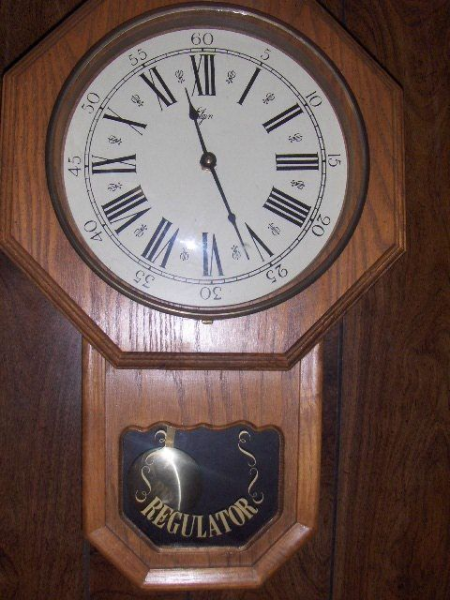 ... Regulator Pendulum Quartz Wood Wall Clock w Chime 21 034 High | eBay