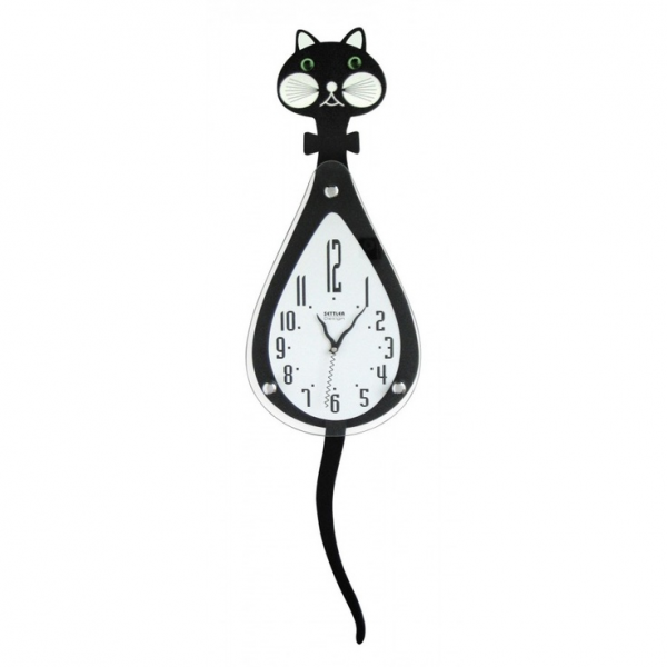 Ashton Sutton Cat Wall Clock with Tail Pendulum - ST3204