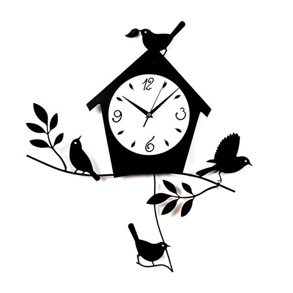 Ashton Sutton CX1665 Birds and Bird House Wall Clock with Pendulum ...