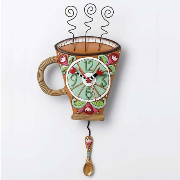Allen Designs Coffee Flower Pendulum Wall Clock - P1036