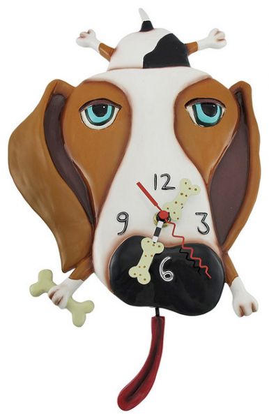 Allen Designs 'Buckley' Dog Pendulum Wall Clock eclectic-clocks