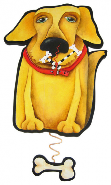 Allen Designs Mellow Yellow Dog Pendulum Wall Clock eclectic-clocks