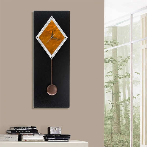 Abstract Modern Metal Pendulum Wall Clock Copper Paramount by Jon ...