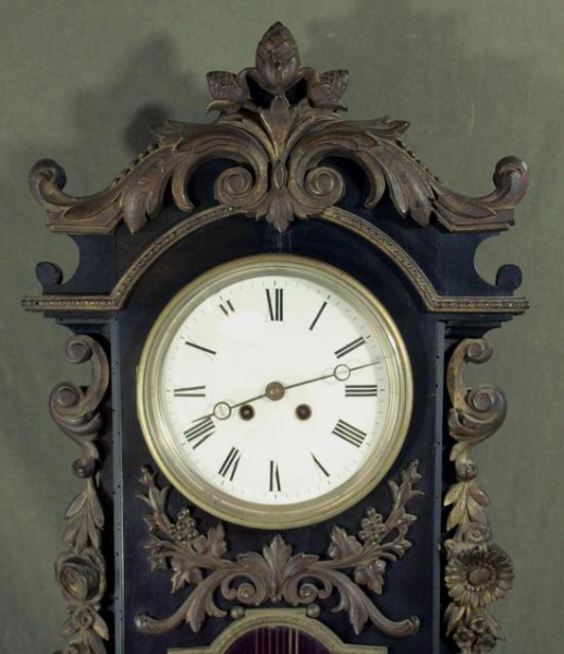 Large Antique French Cast Iron Amp Wood Pendulum Wall Clock w Aneroid ...